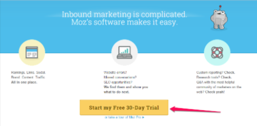 start my free 30 day trial call to action example