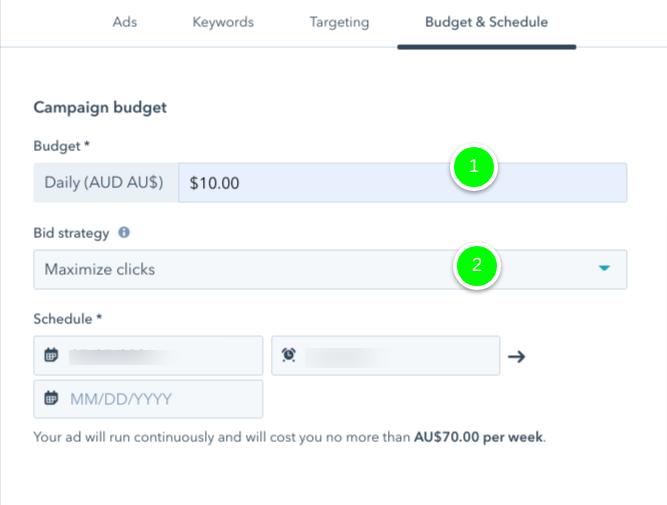 instruction on setting google ads budget