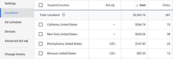 Google Ads Locations screen shot