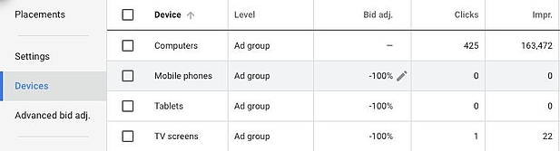 Google Ads devices screen shot