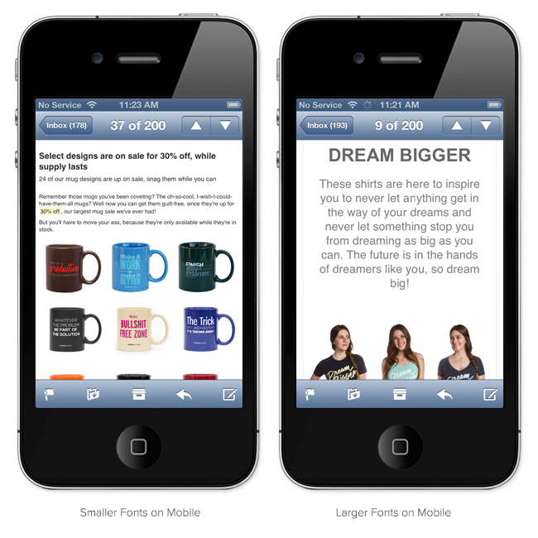 email marketing mobile enlarged font exmaple