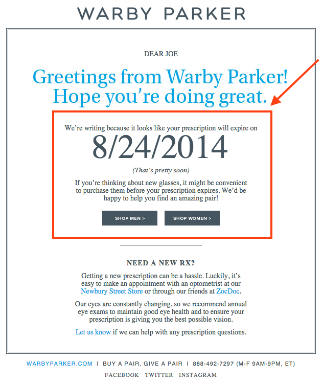 email copywriting to build relevancy exmaple
