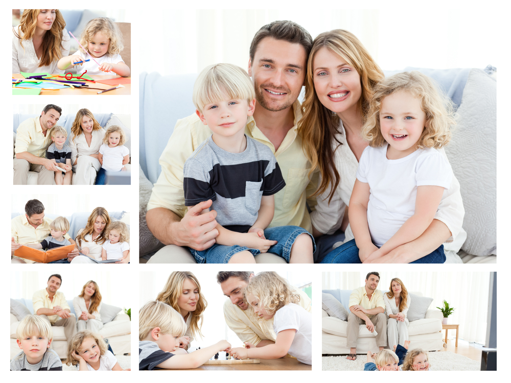 Collage of a family spending goods moments together and posing at home