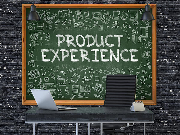 Green Chalkboard with the Text Product Experience Hangs on the Dark Brick Wall in the Interior of a Modern Office. Illustration with Doodle Style Elements. 3D.