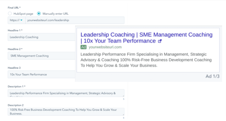 google ads description for business coaching - example