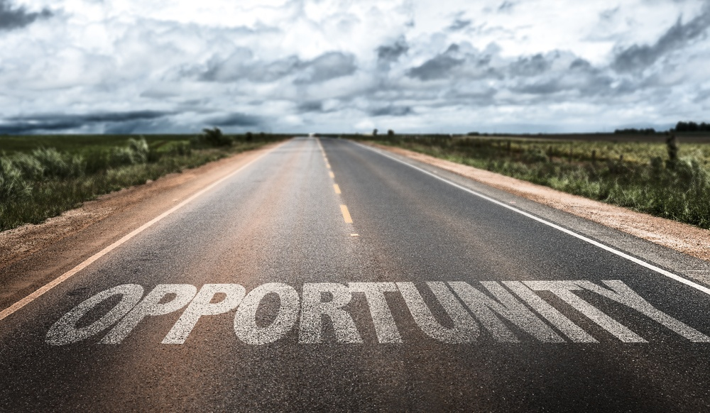 Opportunity written on rural road-1