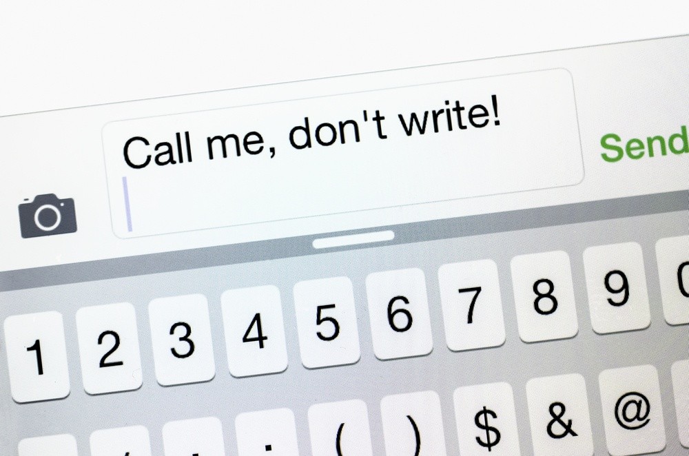 "Text message on smart phone ""Call me, don't write!"" (for concepts of privacy, discretion, and security)-1"